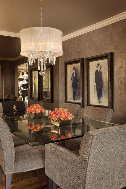 : Awesome Brown Themed Home Dining Room Interior With Textured Wall Displaying Scatches And Chandelier Shades