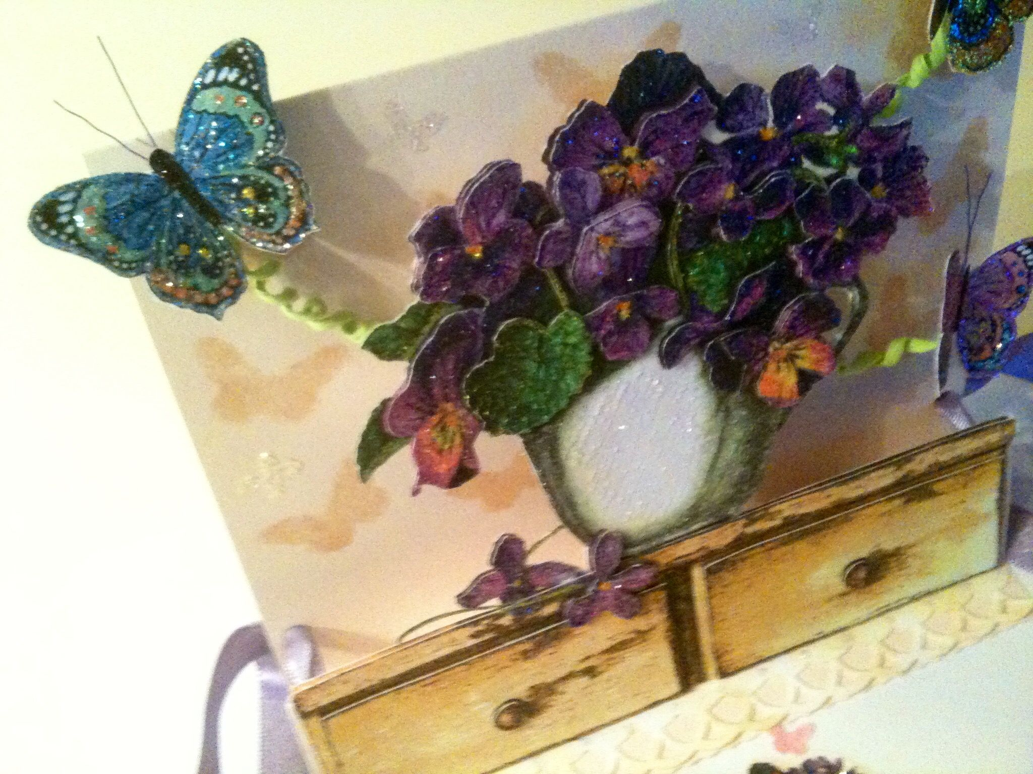 3d Birthday Card Violets Butterflies Using Paper Napkin By Raf