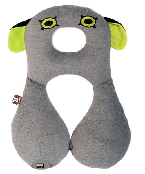 A best friend that comforts and supports! This darling pillow prevents neck strain and has side rests designed to secure the head. The double-sided fabric means little ones stay warm with softer, heavier fabric in winter and keep cool with lighter fabric in the summer. There's even a small pocket to store games or gadgets.