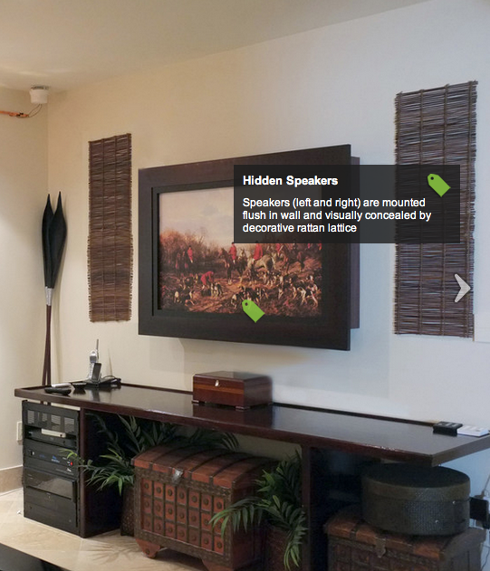 Hiding in wall speakers with decorative rattan lattice for Hide tv in living room