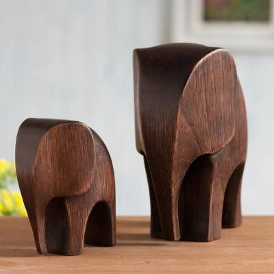 Cedar Wood Elephant Figurines from Peru (Pair), Dark Brown Elephant Motherhood