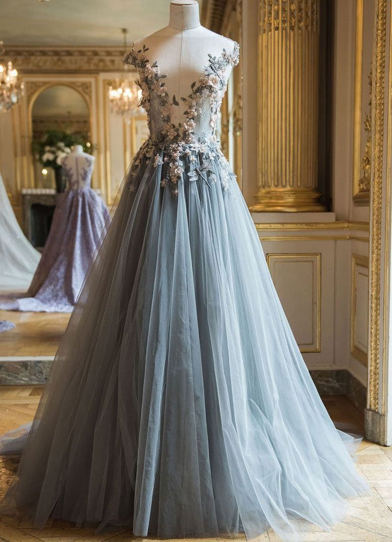 Customized grey prom evening dress luxurious long evening dresses