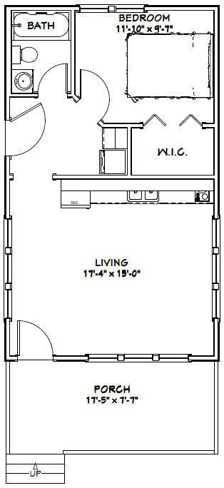 18x30 Tiny House 540 Sq Ft Pdf Floor Plan Model 4d Tiny House Plans House Plans Tiny House Floor Plans