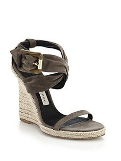 f584d0e9aae Burberry - Catsbrook Suede Espadrille Wedge Sandals | SHOES...レ O ...