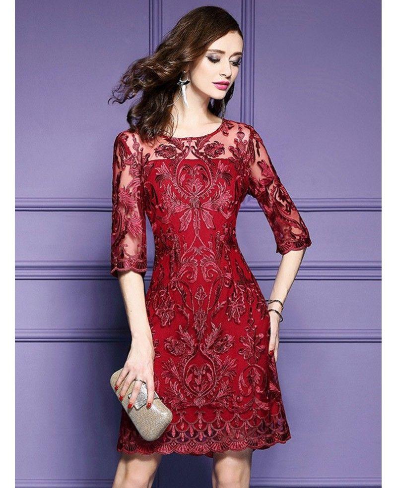 Elegant Burgundy Short Wedding Guest Dress For Over 40,50 With Half ...