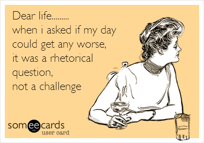 Dear Life When I Asked If My Day Could Get Any Worse It Was A Rhetorical Question Not A Challenge This Or That Questions Rhetorical Question Dear