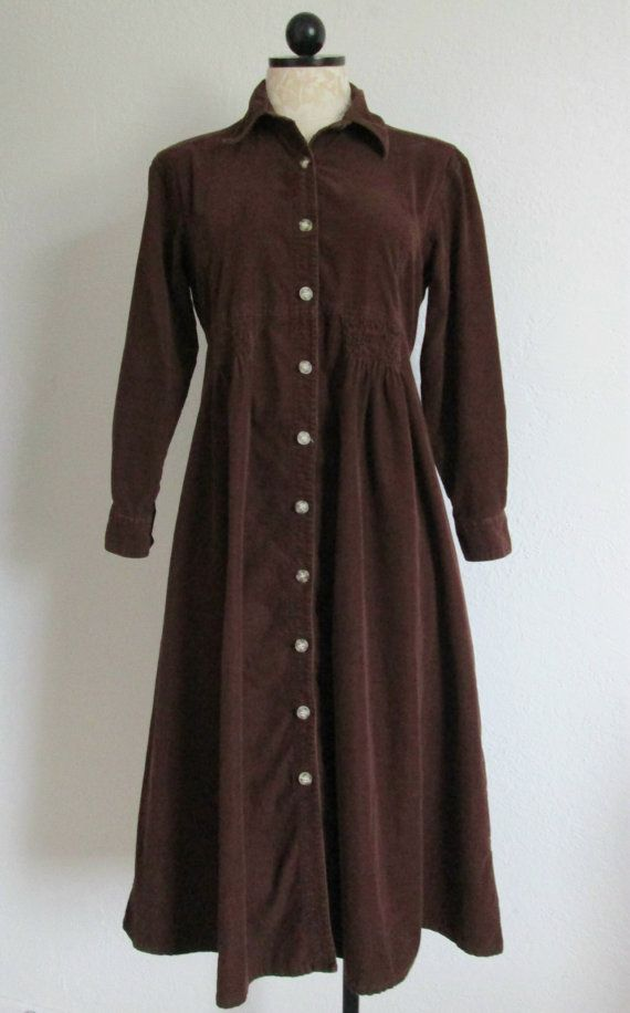 96a85cba47a0 FADS Chocolate Brown Button Down Long Sleeve Cotton Corduroy Shirt Dress-  6P