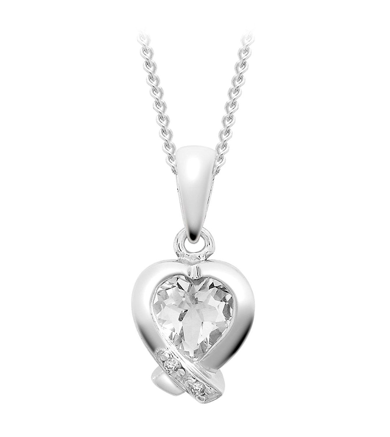 Carissima Gold Women's 9 ct White Gold Diamond Pave Set Round Pendant on Curb Chain Necklace of Length 46 cm t8KCIrV3ao