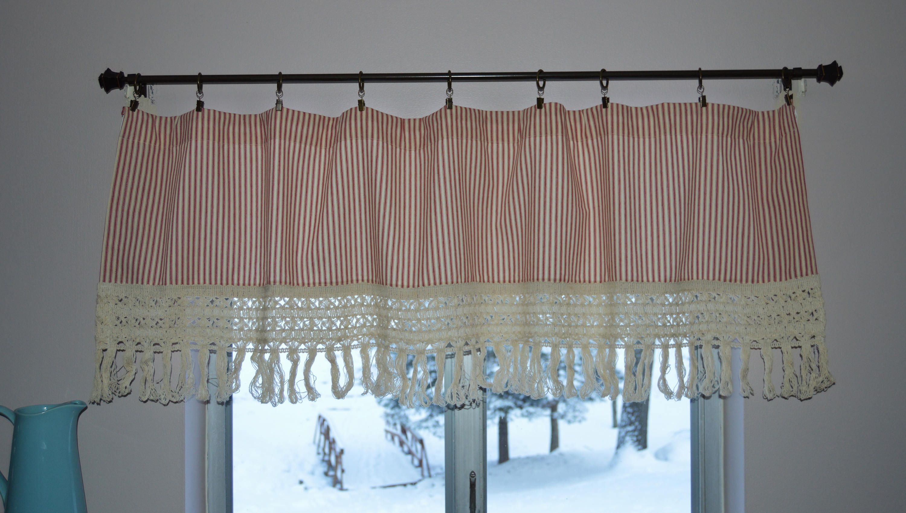 red stripe ticking valance crochet lace trim country kitchen
