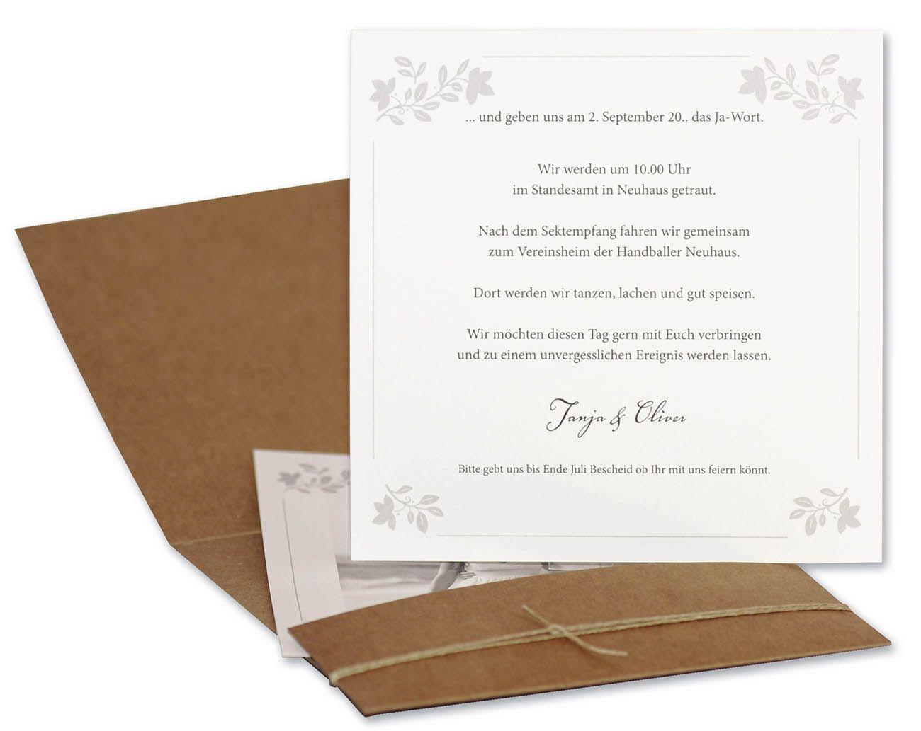 Hochzeitskarte Aus Braunem Naturkarton Mit Kordel Und Goldenen