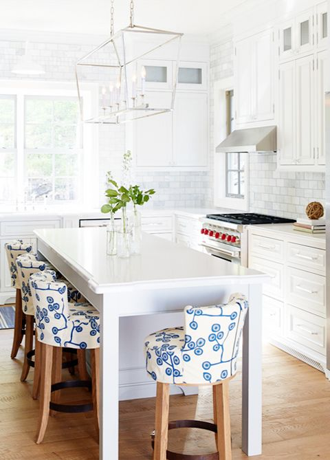 Chair fabric pattern against that beautiful white kitchen