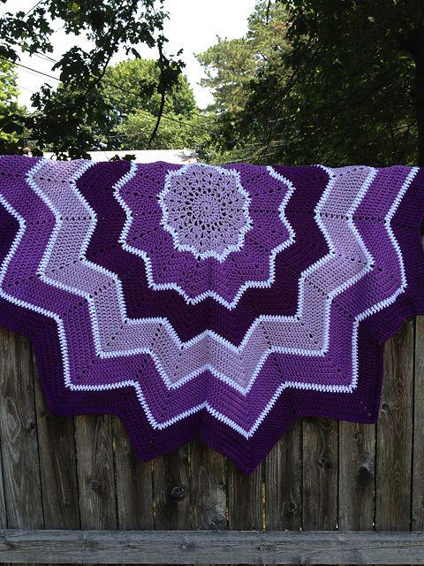 Ravelry Rainbow Ripple Round Circular Crochet Blanket Afghan Free