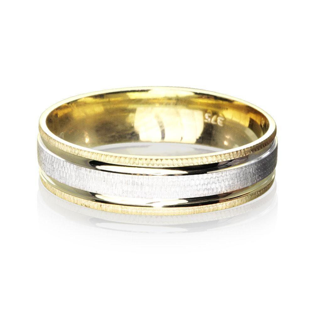 9ct Gold 2 Colour Luxury Weight Mens Wedding Ring 55mm Warren
