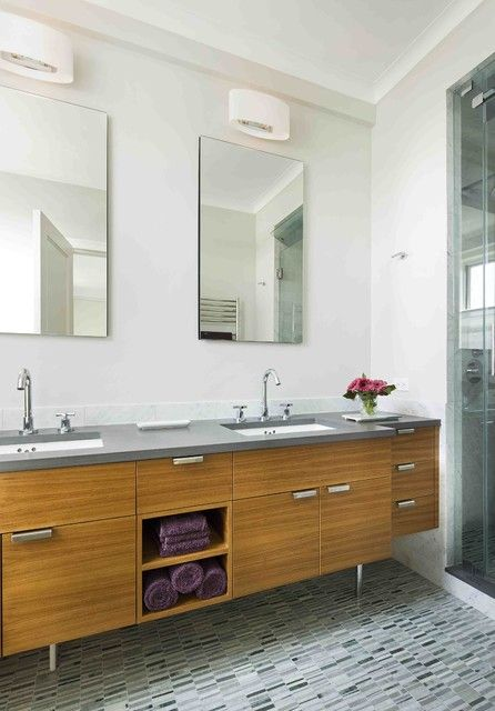Modern Double Vanity With Granite Mid Century Feel Modern