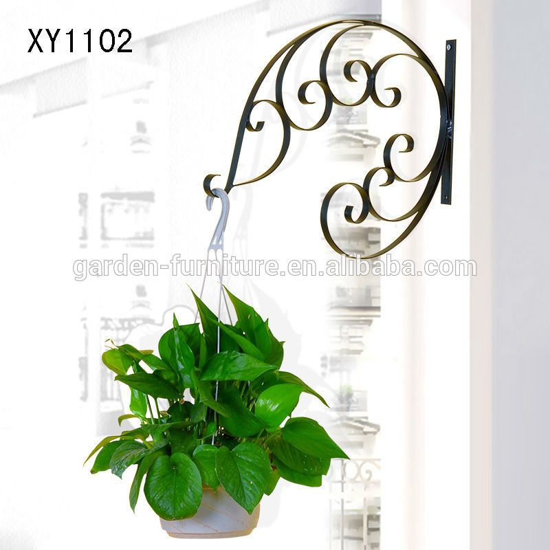 Xy1102 Metal Hanging Plant Basket Brackets Hooks Scroll Works Home Garden  Wall Decor Wrought Iron Crafts Outdoor Accessory Saleu2026