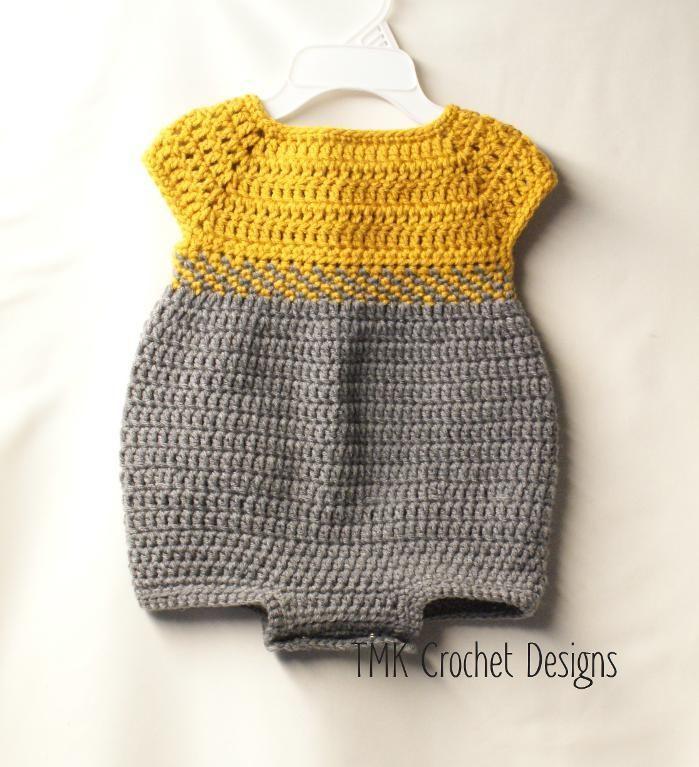 Crochet Baby Romper   Häkeln, Baby stricken und Häkeln baby