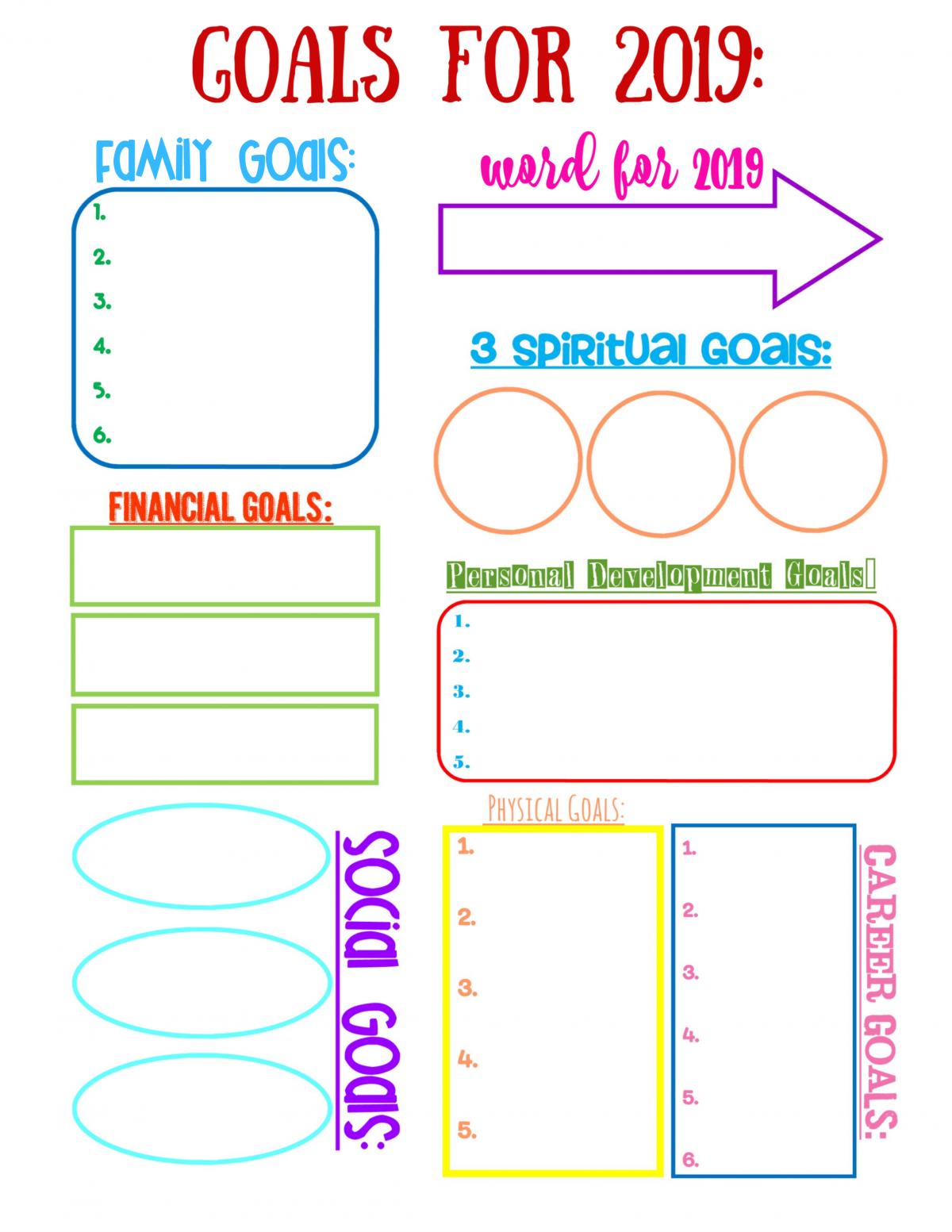 Vision Board Personal Goal Worksheet