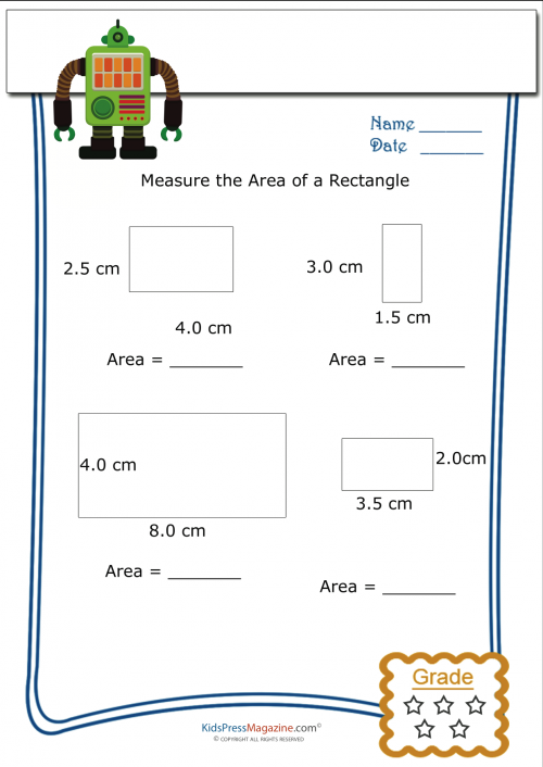Area of rectangles worksheet metric