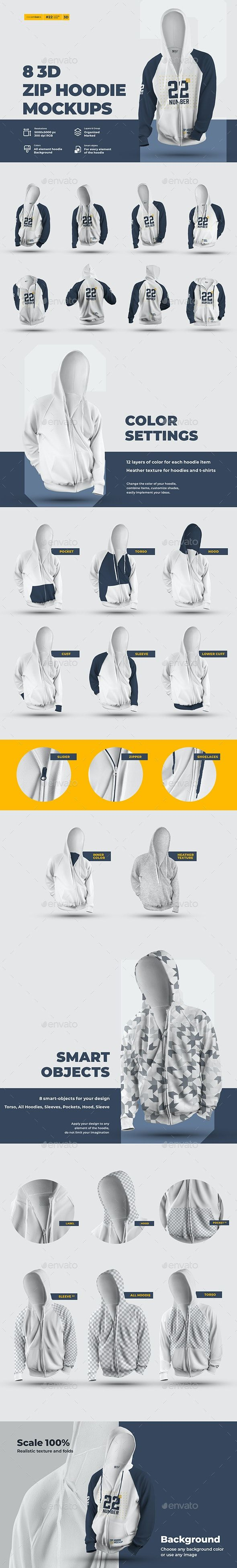 Download 8 3d Zip Hoodie Mockups Hoodie Mockup Zip Hoodie Mockup Design