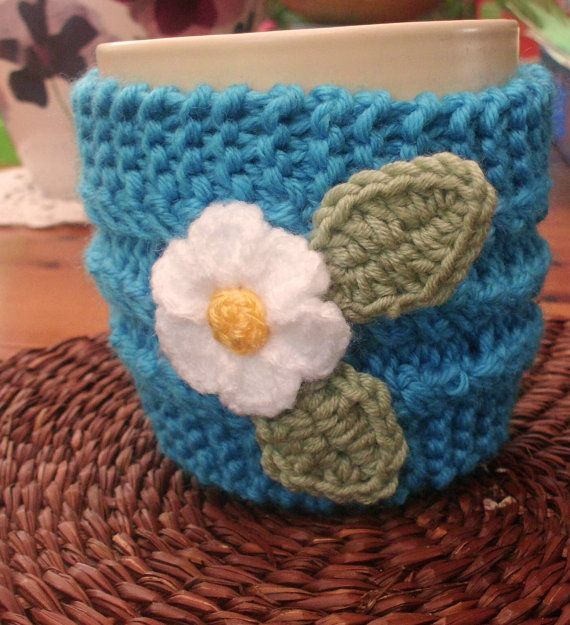 Knitted Turquoise Mug Cosy by LittleDaisyKnits on Etsy,