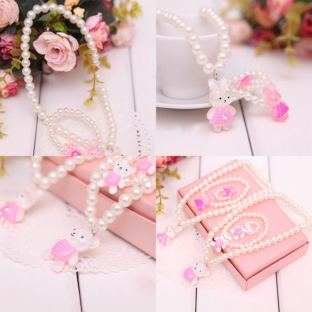 Cute baby children girls princess beads necklaceubraceleturing set