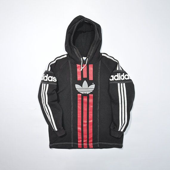 d917c67b830d Vintage ADIDAS Hoodie Sweatshirt Sweater   Retro ADIDAS Pullover Jumper    90s Adidas Decente   Color Block   Multi Color   Adidas Big logo