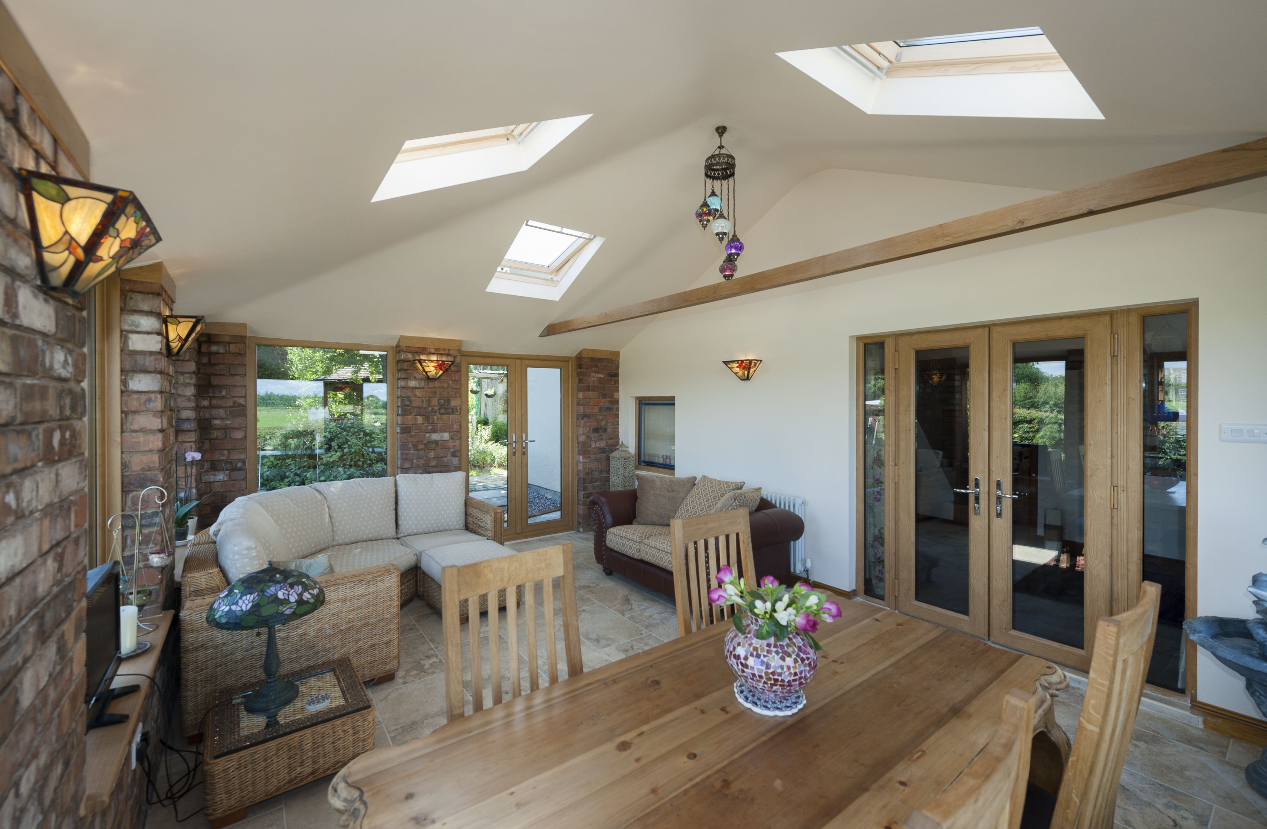 Stunning interior to this garden room style conservatory for Garden room extension interior