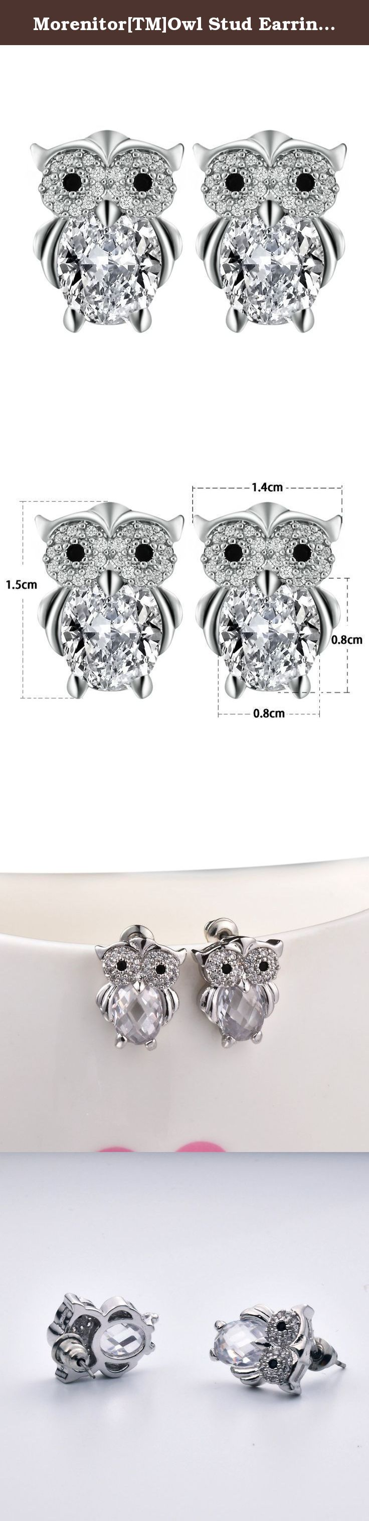 Morenitor[TM]Owl Stud Earring Bling Gold Plated Crystal Rhinestone