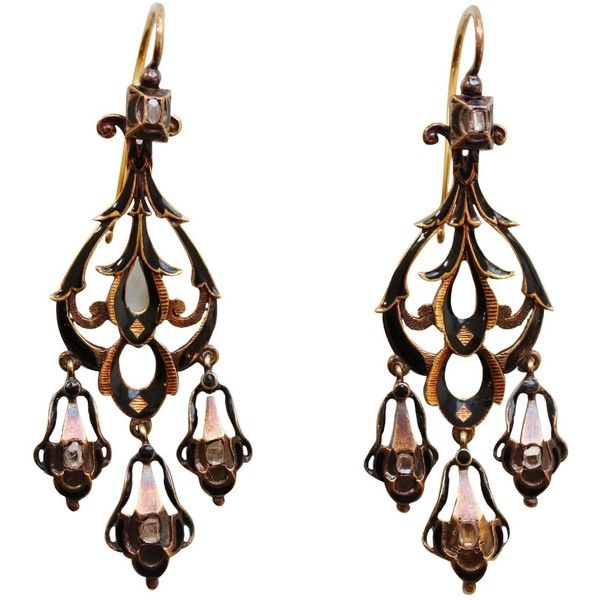 Preowned Neo Renaissance Black Enamel Diamond Gold Dangle Earrings ($6,330) ❤ liked on Polyvore featuring jewelry, earrings, black, black gold jewelry, long black earrings, gold dangle earrings, gold diamond earrings and black dangle earrings