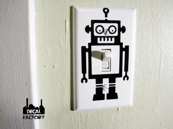 Roboter einzelne Lichtschalter Cover Vinyl Aufkleber Aufkleber Nerdy Techie