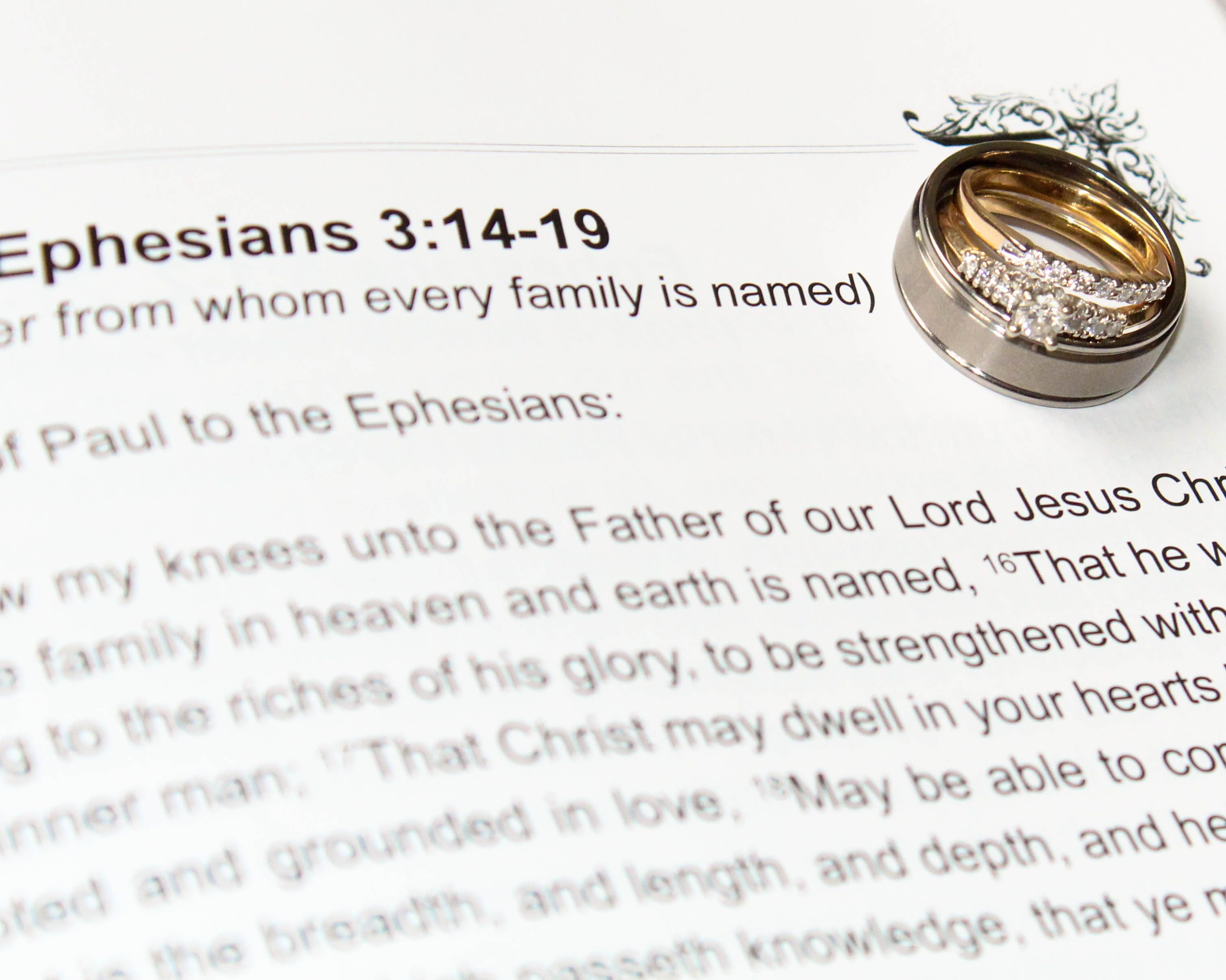 Wedding Rings on bible page with verses. Photography