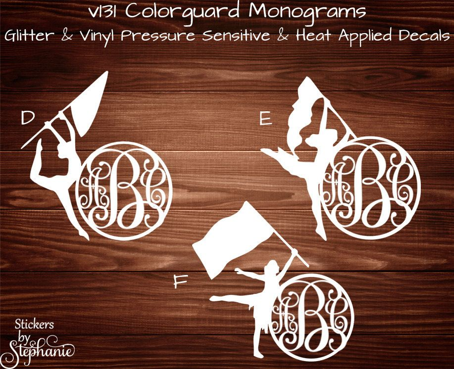 V Color Guard Personalized Monogram GLITTER Or VINYL Pressure - Glitter custom vinyl decals for shirts