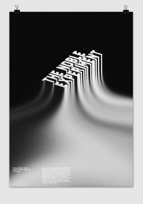 The noble experiment graphic design poster black white typography morphing shadow