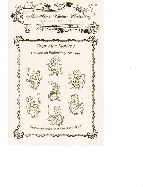 Cappy The Monkey Tea Towel Embroidery pattern Hot Iron transfer