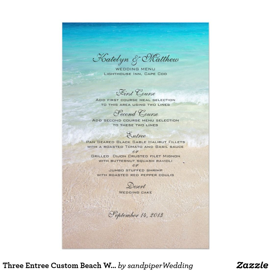 Three Entree Custom Beach Wedding Menu Wedding Menu Beach