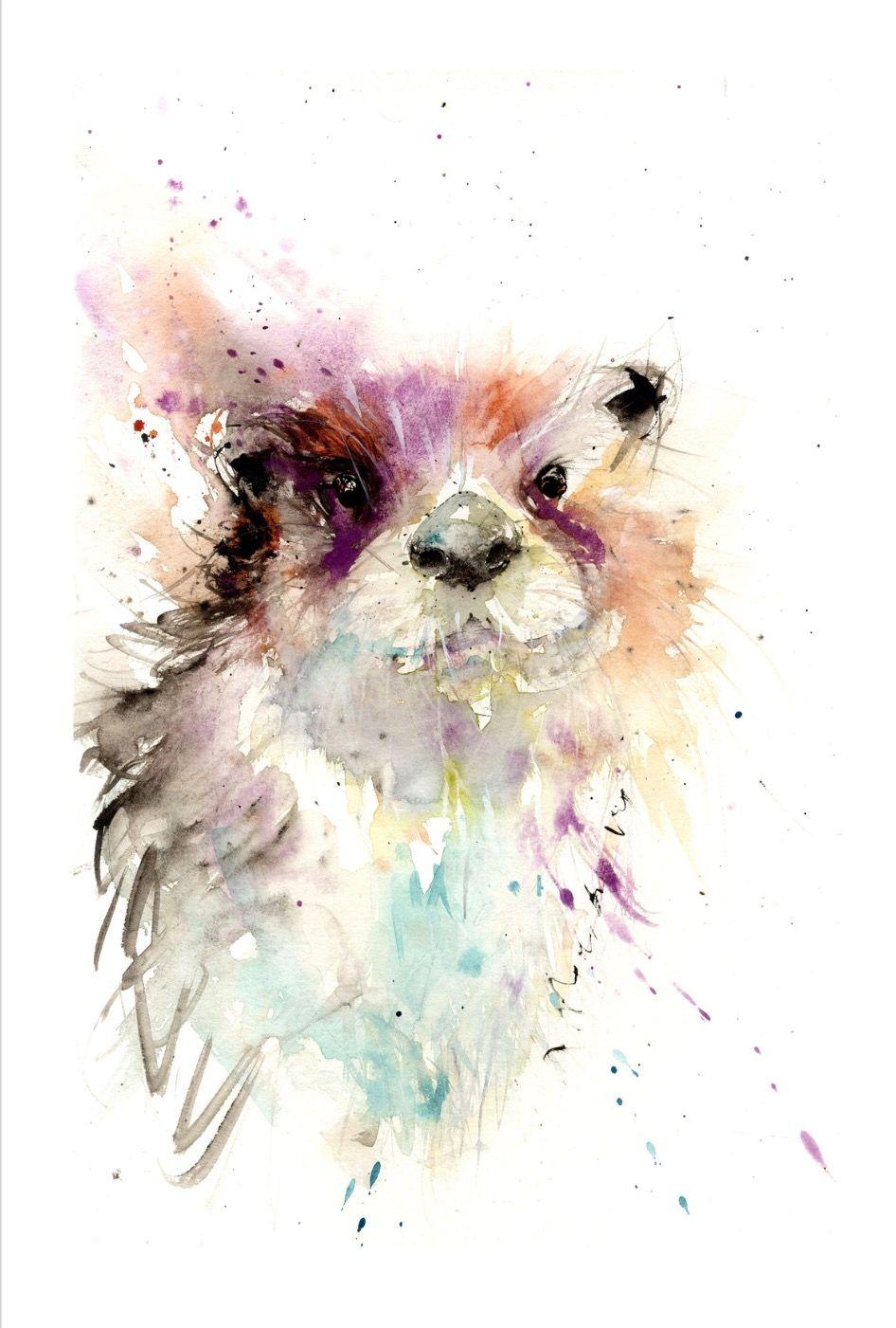 wall Watercolour Print Otters Sale,Original Card Wildlife,Animal,Art Gift