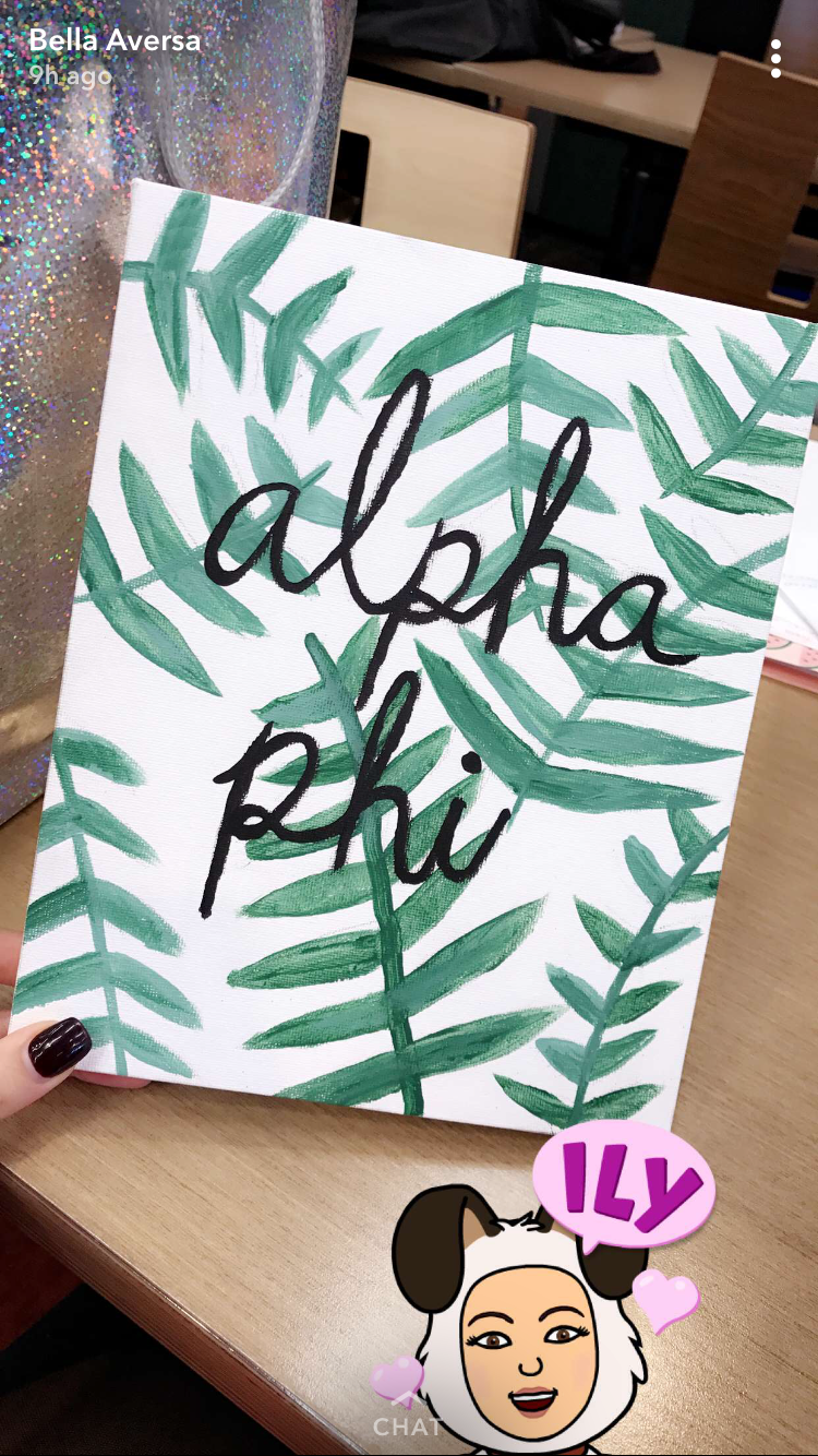 Alpha phi sorority crafting canvas big little clue week #biglittlecanvas