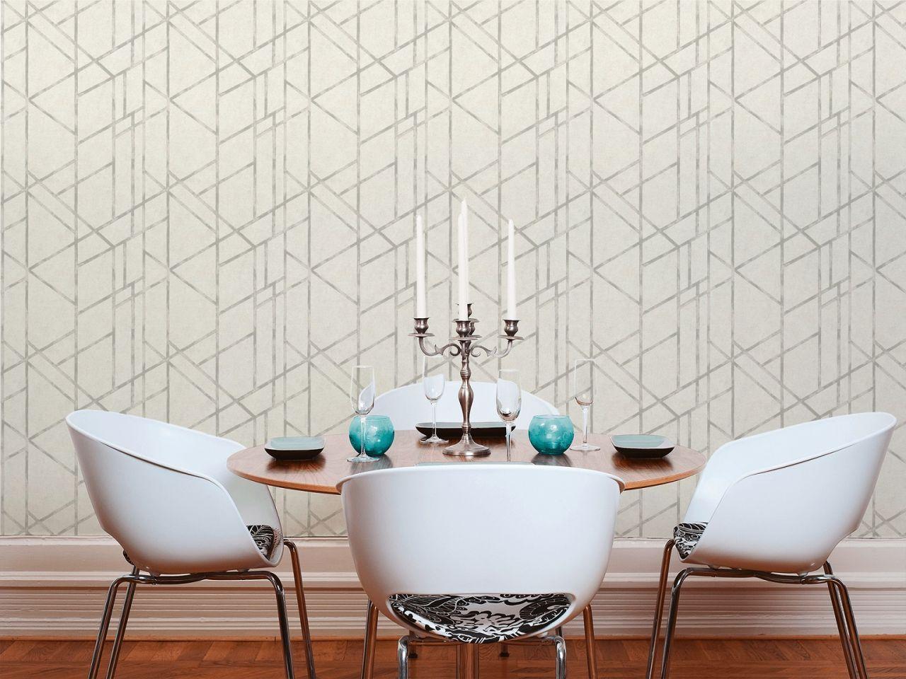 Vliestapete Design Muster Silber Grau Metallic