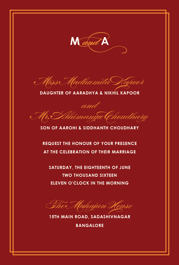 Most Popular Invitations Maroon Text Elegance Wedding