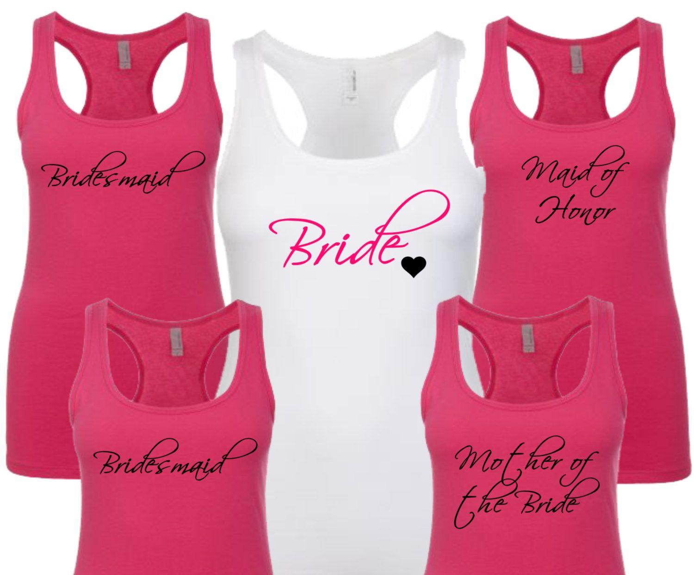 Set of 6 Bridesmaid Tank Tops, Bride Shirt, Bride Tank Top, Bridesmaid Shirt, Bridal Party Shirts, Bachelorette Party Shirts, Wedding Shirts by AMPedUpTeeShop on Etsy