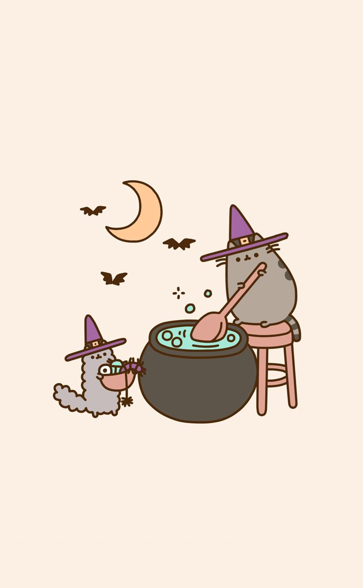 Pusheen Witch On Weheartit Halloween Wallpaper Iphone Halloween Wallpaper Backgrounds Kawaii Wallpaper