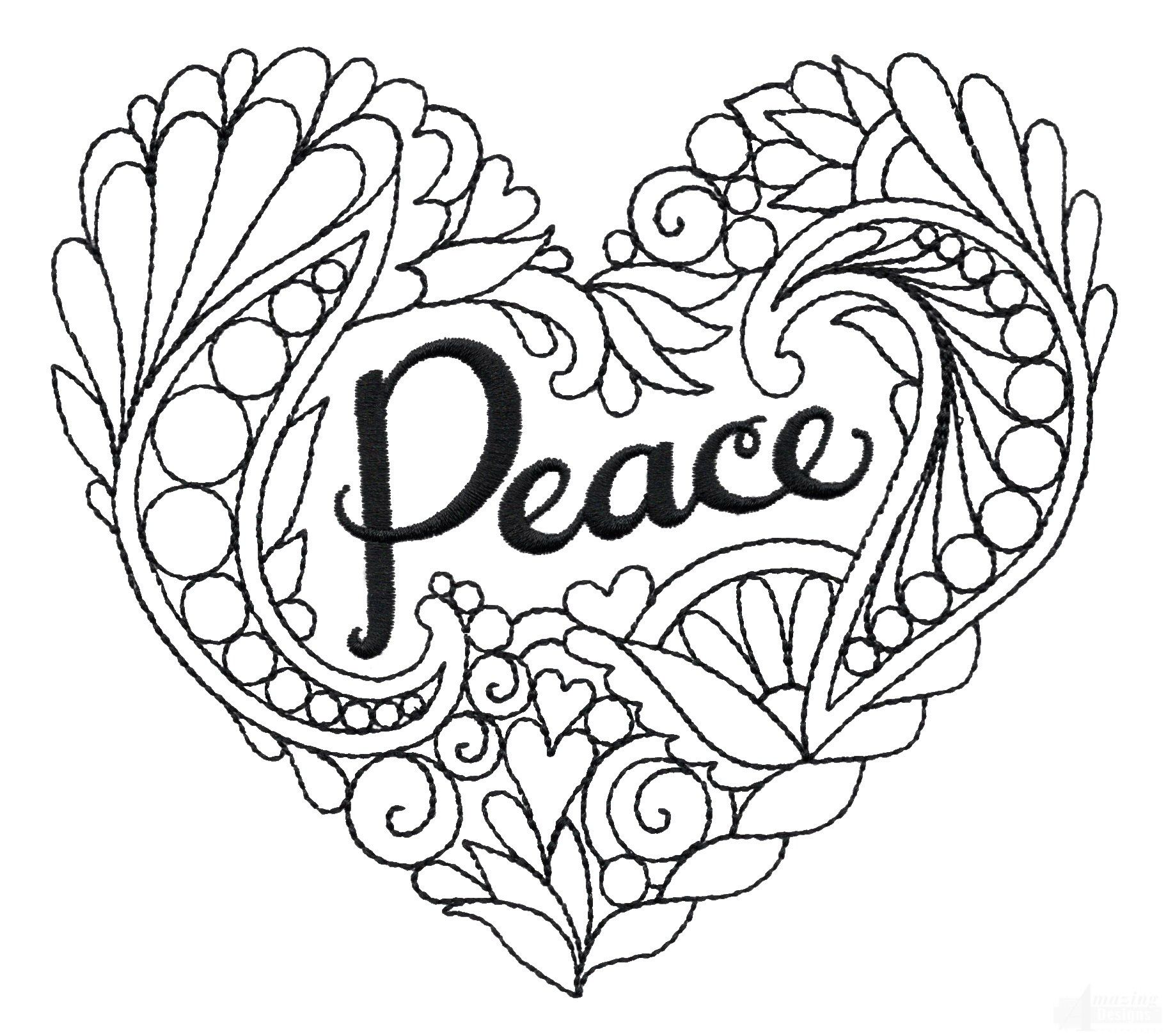 Heartfelt Doodles Embroidery Designs | Hearts + Love Coloring Pages ...