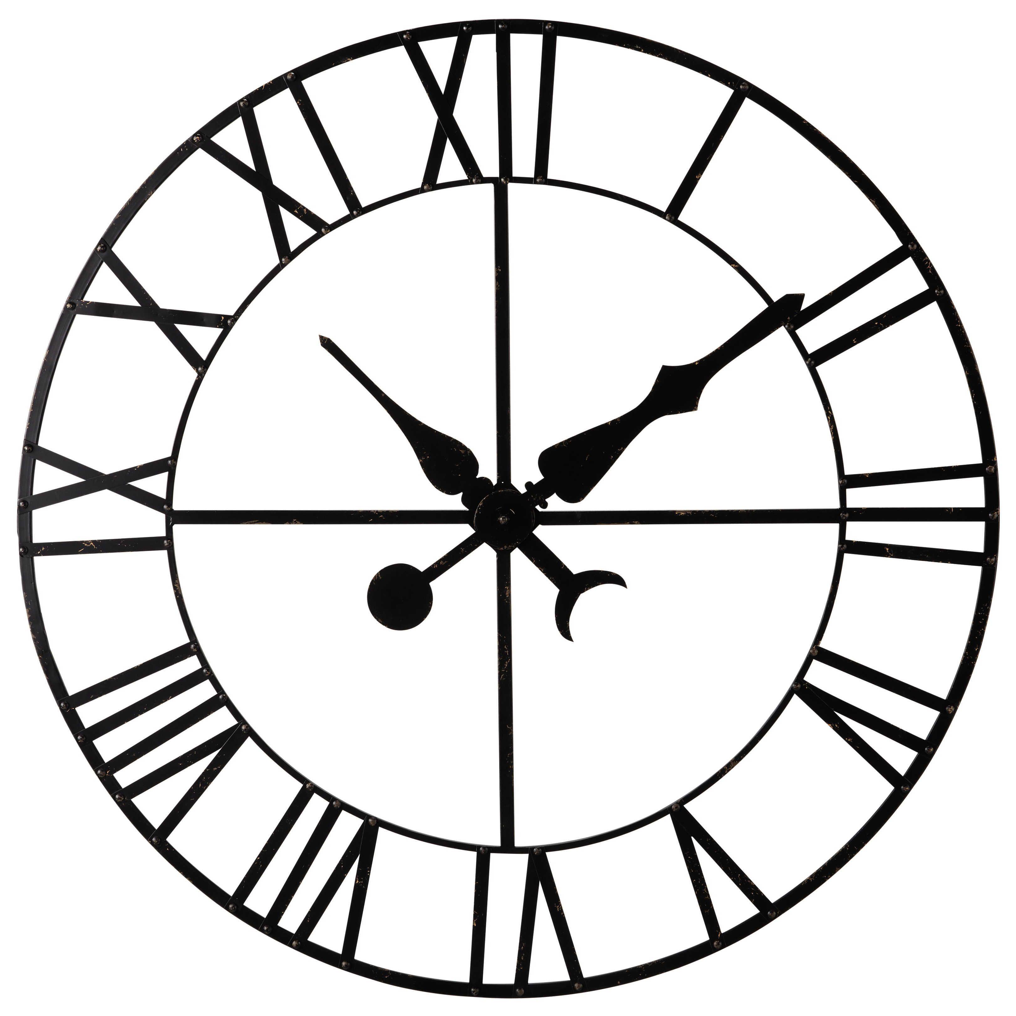 Deco Horloge Factice En Metal Noir D130