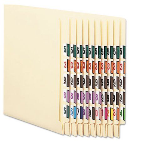 Single Digit End Tab Labels, Color 0-9 Assortment, 500/Roll