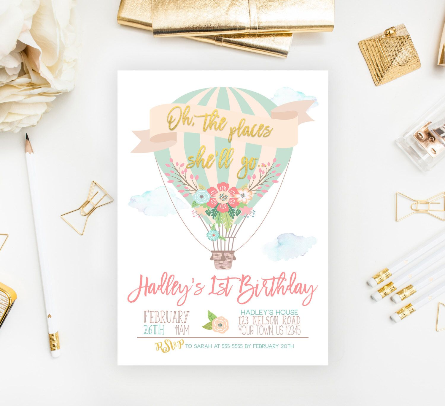 Oh The Places She Ll Go Hot Air Balloon Birthday Invitation