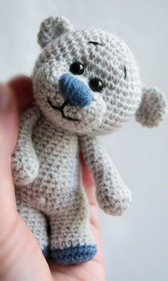 Teddy Tiny Blue #crochetbearpatterns