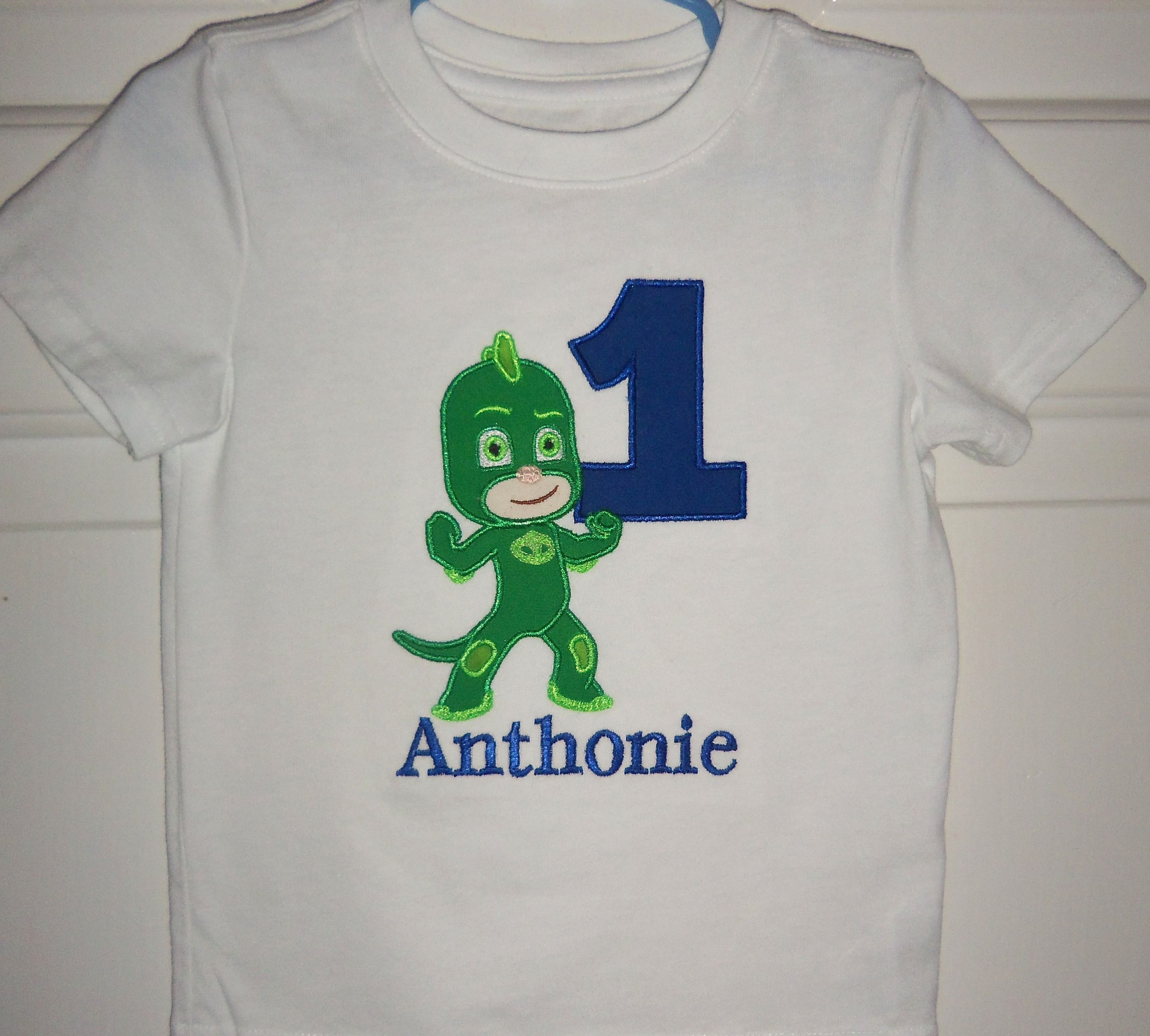 Gekko From PJ Maks Birthday Shirt With And Personalized In Size 18 Months Through