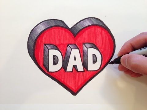 how to draw dad in a heart 3d youtube