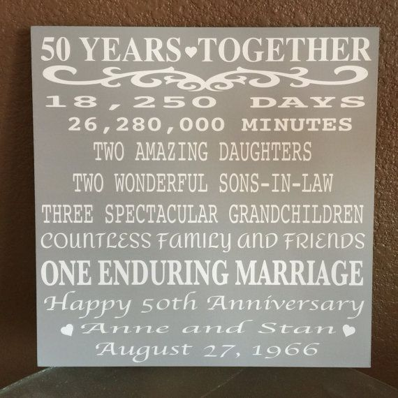 What Is An Appropriate Wedding Gift Amount: Custome Anniversary Wood Sign // 50 Years Anniversary, Can