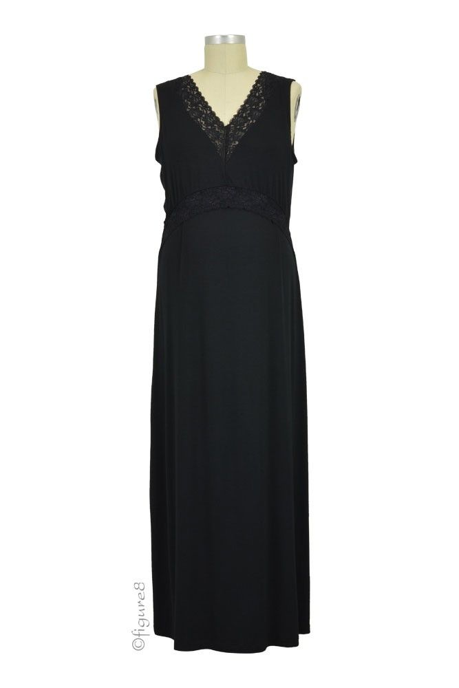 Josie Lace Tipped Nursing Gown in Black by Japanese Weekend   Gowns